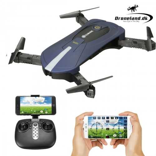 Eachine E52 WiFi FPV - Foldable selfie mini drone with HD camera - blue