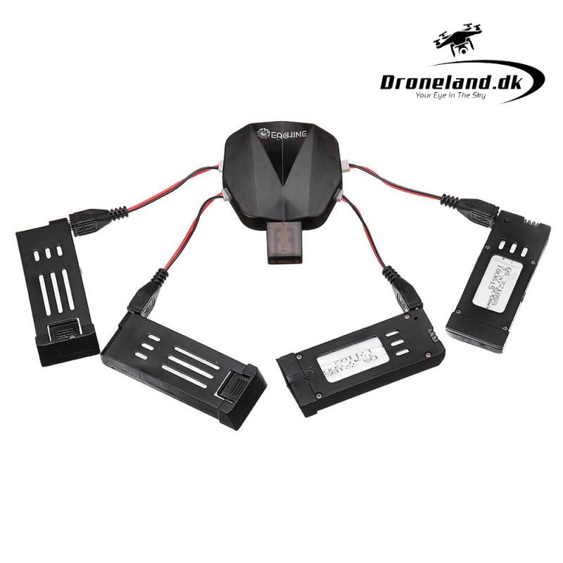 4-i-1 Batterier & Ladesæt med 4 batterier og USB ladekabel til DroneX Pro - Eachine E58 - Skye drone thumbnail