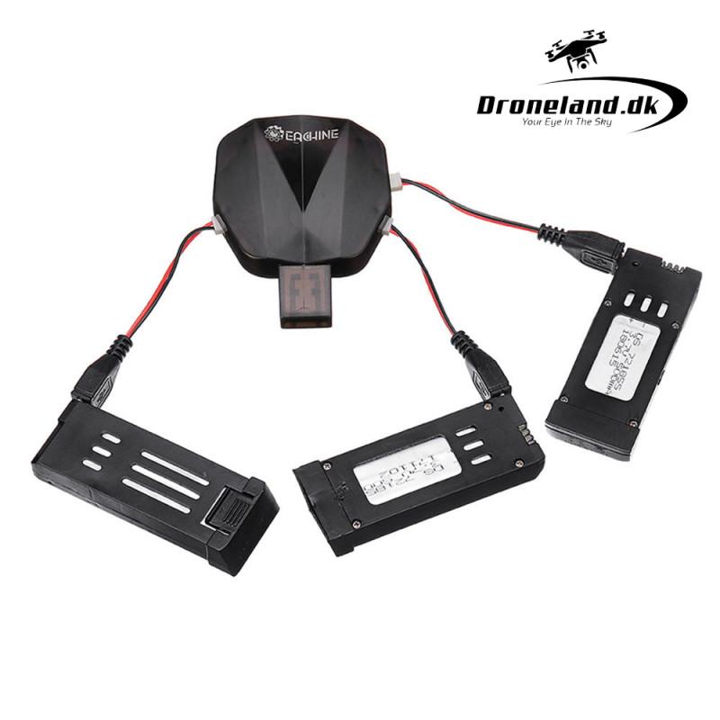 3-i-1 Batterier & Ladesæt med 3 batterier og USB ladekabel til DroneX Pro Eachine E58 thumbnail