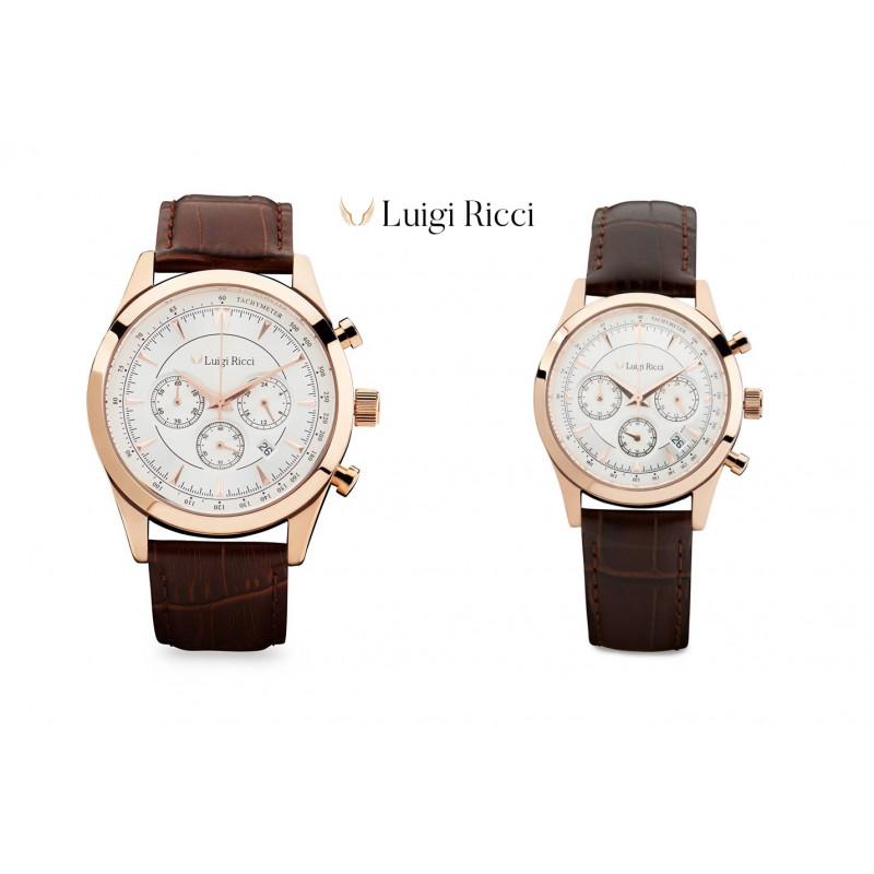 Luigi Ricci Eleganza X10 & X11 gavesæt (Armbånds ure til mænd & kvinder) med rosa guld og læder rem