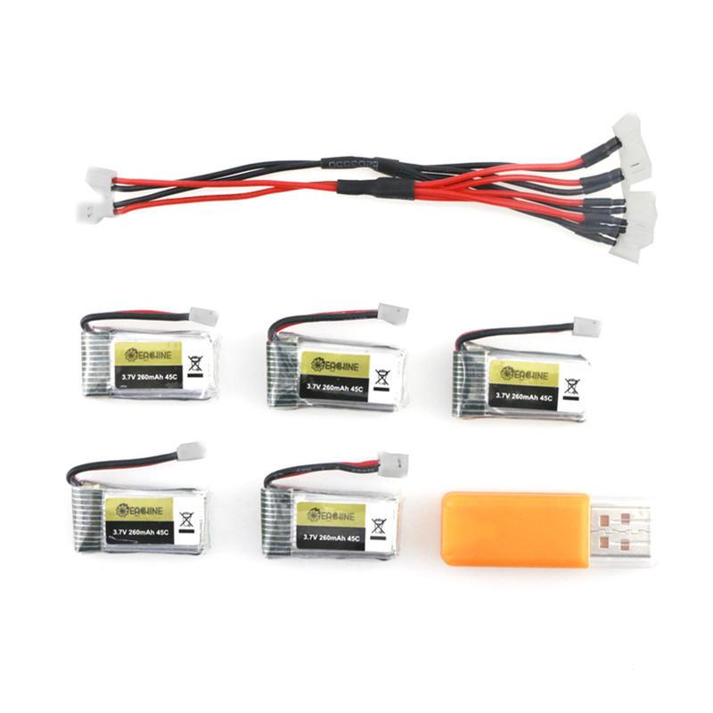 5-i-1 Batteri og ladesæt med 5 x 3.7V 260MAH 45C Lipo batterier og USB lader til Eachine E013 thumbnail