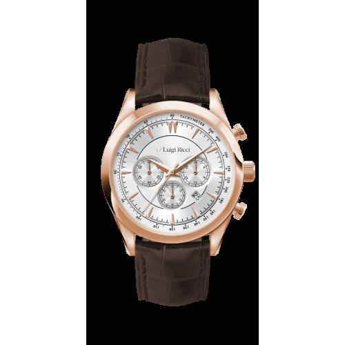 Luigi Ricci Eleganza X10 armbånds ur til mænd & herrer med rosa guld og læder rem