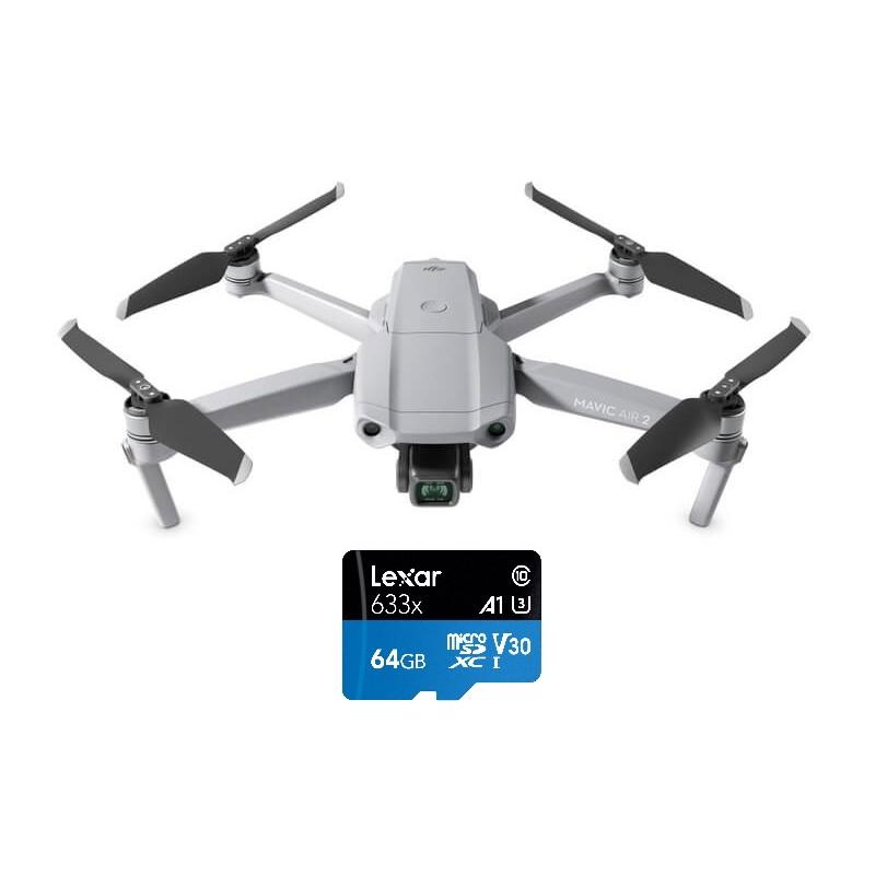 DJI Mavic Air 2 – Drone med 4K kamera + GRATIS 64GB micro SD kort (Class 10)