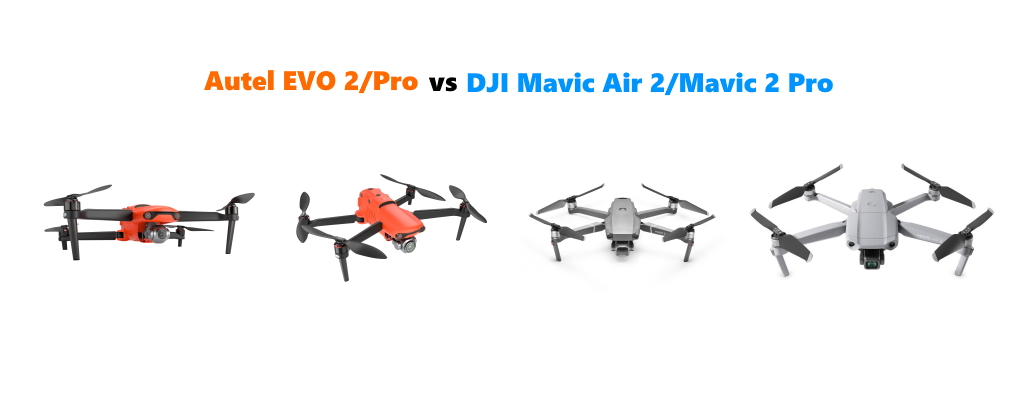 Sammenlign Autel EVO 2 vs DJI Mavic Air 2 vs DJI Mavic 2 Pro