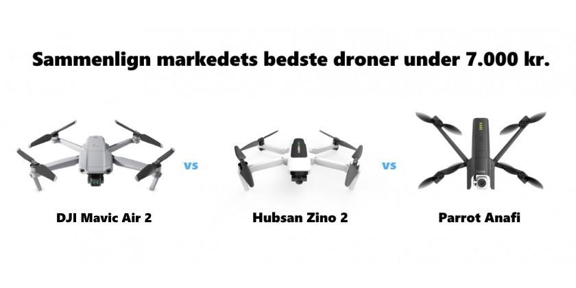 Sammenlign de bedste droner under 7.000 kr. - DJI Mavic Air 2 vs Hubsan Zino 2 vs Parrot Anafi